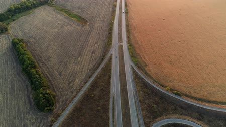 crossway : Countryside road. Journey traveling. Nature landscape. Skyline sunrise aerial view.