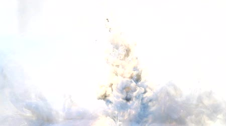 infusion : Ink shot motion. Explosion smog. Bronze steel blue smoke cloud on white background for intro.