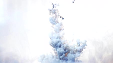 infusion : Paint infusion. Smog cloud. Steel blue ink drop splash on white background for video editing. Stock Footage