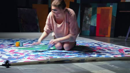 bluestone : Art obsession. Imagination freedom. Inspired woman finger painting with passion. Stock Footage