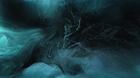 damp : Vapor motion overlay. Cosmic dust. Teal blue fume flow effect for video editing.