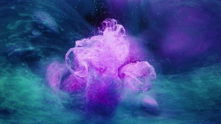 Colored steam overlay. Fantasy flower. Purple blue fume mix effect for video editing.