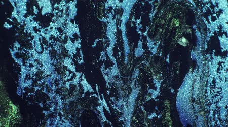 なだめる : Fluid art. River flow. Glitter faded denim blue green paint motion background.
