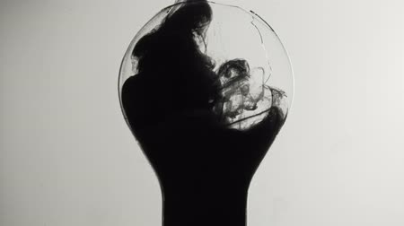 fragilidade : Lamp ink shot. Dangerous fragility. Black smoke filling broken light bulb on white background.