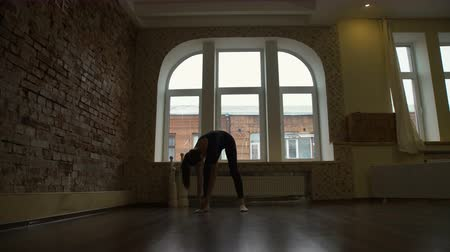 sport fitness. yoga gymnastics. healthy lifestyle. exercise workout. young fit teenage girl warming up in a gym