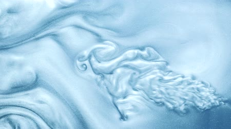 shimmer : Paint flow. Fluid infusion. Sky blue vertical liquid ink motion. Stock Footage
