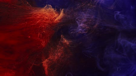 Smoke flow. Magic fire flames. Fume motion. Blue red paint mix.