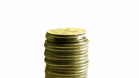 стек : growing stack of coins isolated on white, then decrease