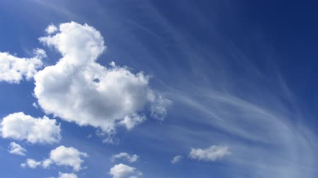 perpetual motion : timelapse cirrus and cumulus clouds on summer sky Stock Footage