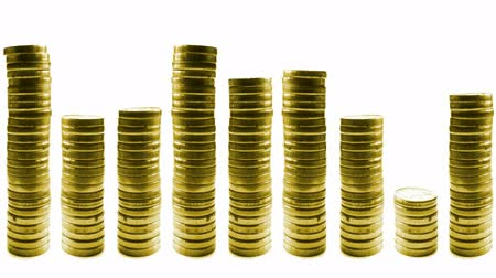 tempo : growing and reducing stacks of coins in line isolated on white. loop