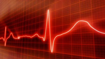 dövmek : seamless loop red background EKG electrocardiogram pulse real waveform