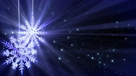 рождество : christmas loop background two snowflakes and glitter snowfall