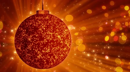 orange background : orange christmas ball close-up and lights loop