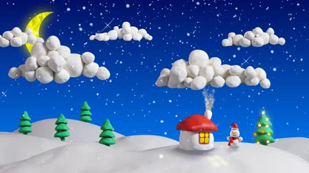 kardan adam : winter christmas scene house and firs loop clay animation