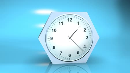 wakeup : timelapse clock with reflection on blue 3d Stock Footage