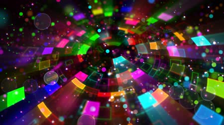 техно : multicolored circular segments and particles loop