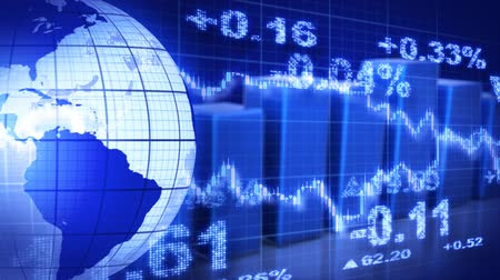 világ : globe and graphs blue stock market loopable background