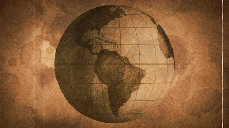 葡萄收获期 : globe sketched on old paper grunge loop background
