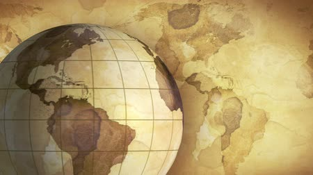 pergament : vintage rotating globe and map of the world loopable background Stock mozgókép