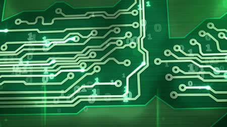 bordo : green digital circuit board pan loop Stock Footage