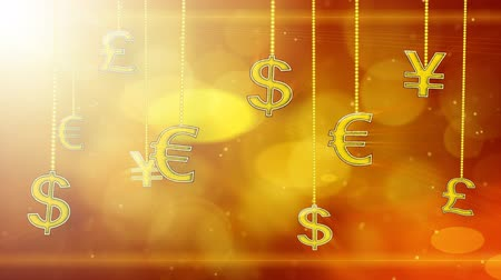 esterlino : shiny currency signs dangling on strings loop background