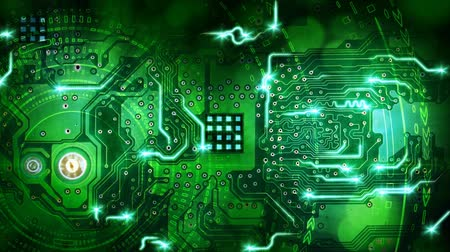 digitális tábla : green computer circuit board background loop Stock mozgókép