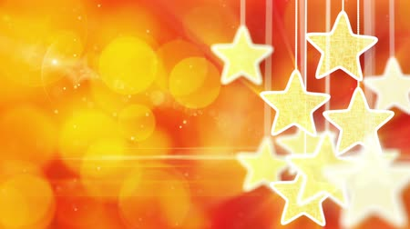 arife : gold stars on red bokeh lights background loop Stok Video