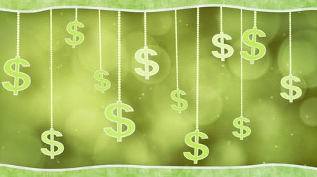 sembol : green dollar signs dangling on strings loop background Stok Video