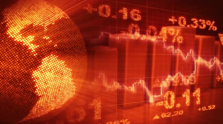 graph : globe and graphs orange stock market loopable background Stock Footage