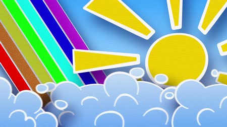 adorable : sun rainbow and clouds in sky. Part 2:00 - 12:00 are seamless loop Stock Footage