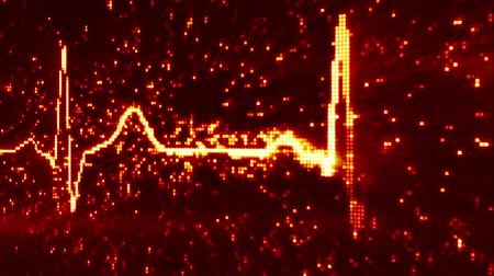 dövmek : digital pixel EKG electrocardiogram pulse orange loopable background Stok Video