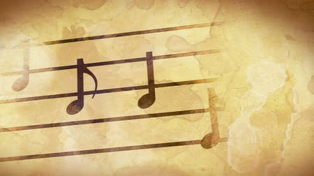notes : music notes on old paper loop Stock Footage