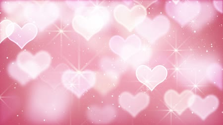 боке : pink bokeh hearts and particles loop