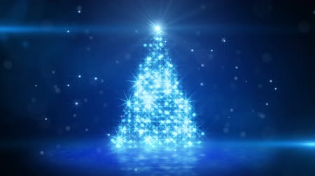 С Рождеством : blue light christmas tree last 10s loop Стоковые видеозаписи