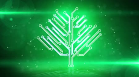 digitális tábla : green electronic hi-tech tree. Seamless loop starting at 5.00. computer generated motion background HD 1080p.
