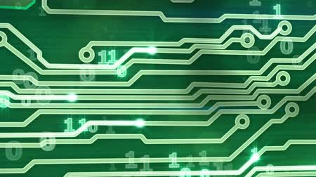 nowoczesne technologie : green circuit board providing signals 3d animation
