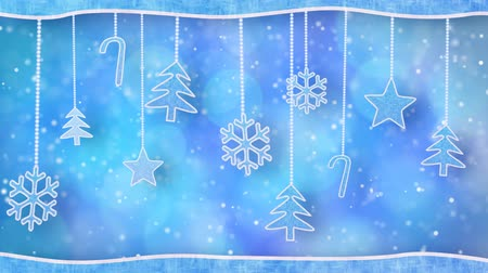 kart : christmas hanging decorations loopable blue background