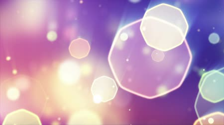 фокус : delicate octagon bokeh lights seamless loop background Стоковые видеозаписи