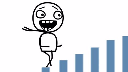 экономический : happy man and good statistics loop cartoon