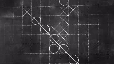 turbina eólica : tick tack toe game on blackboard animation Stock Footage