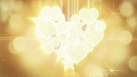 shiny : gold heart shape concept loop background luma matte Stock Footage