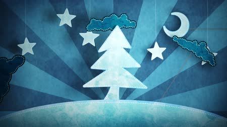 cardboard blue christmas tree loop 5.01 - 15.00. luma matte for first and last 4 seconds