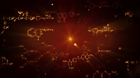 chemia : flying shiny chemical formulas. computer generated seamless loop scientific motion background