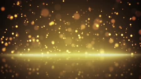 flying gold particles and reflection. computer generated seamless loop abstract motion background