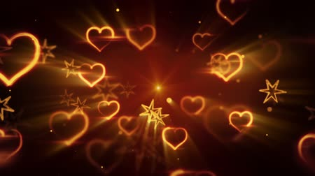 flying shiny heart shapes. computer generated seamless loop romantic motion background