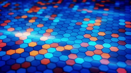 hexágono : blinking blue orange hexagons loopable background Vídeos
