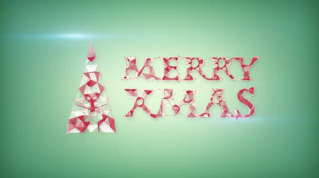 С Рождеством : merry christmas greeting triangles shape. computer generated animation