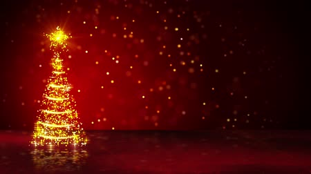 рождественская елка : orange christmas tree of glowing particles. computer generated seamless loop abstract motion background