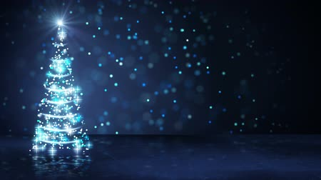 blue christmas tree of glowing particles. computer generated seamless loop abstract motion background