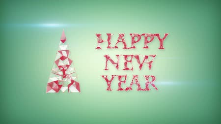 feliz ano novo : happy new year greeting triangles shape